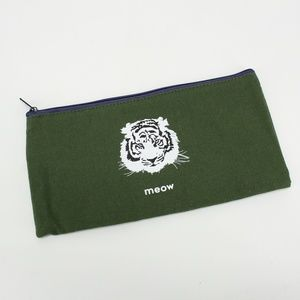 Tiger Meow Olive Green Zipper Pouch Case